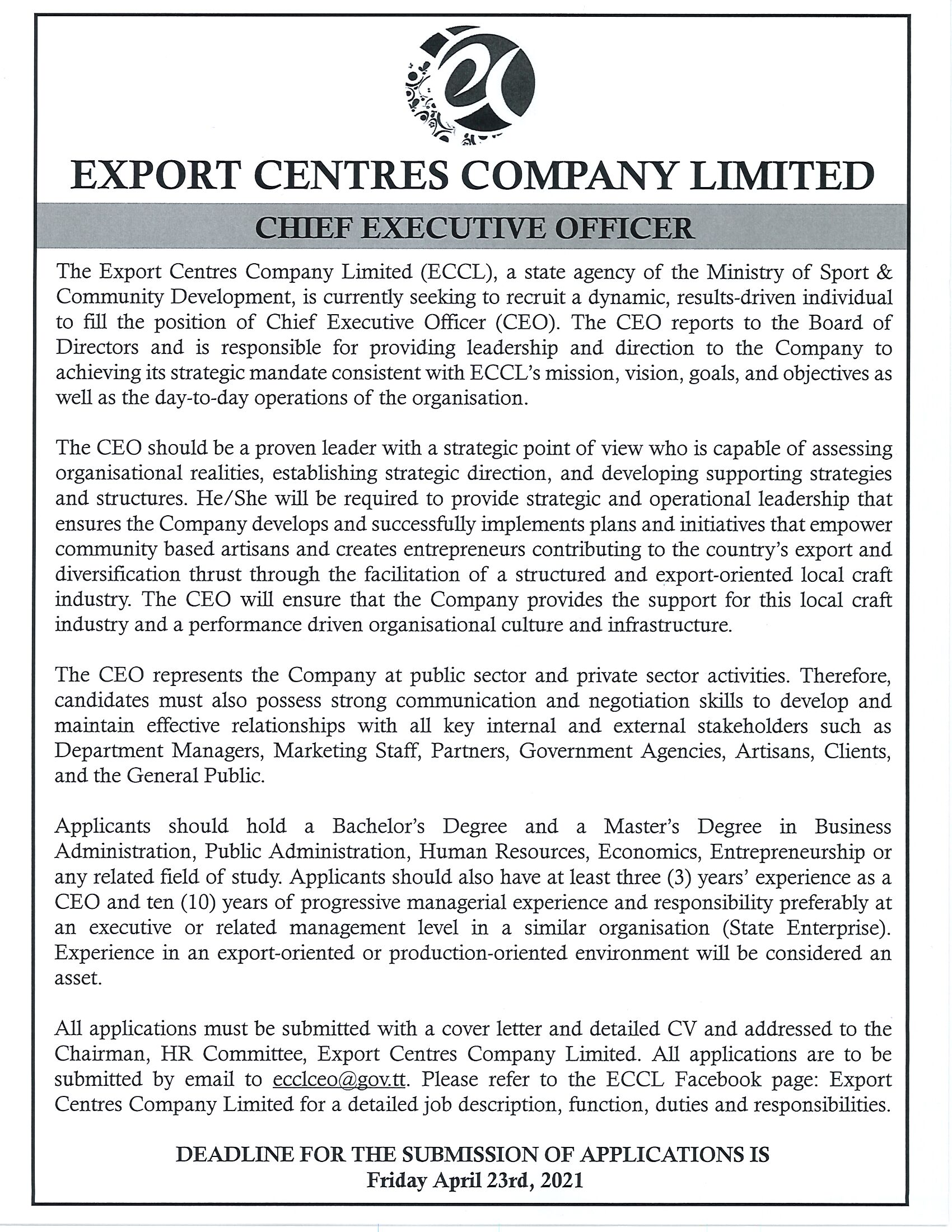 ECCL CEO JD cover letter